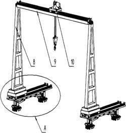 液压式抬腿组件及港口货物转运用拼接式应急龙门吊